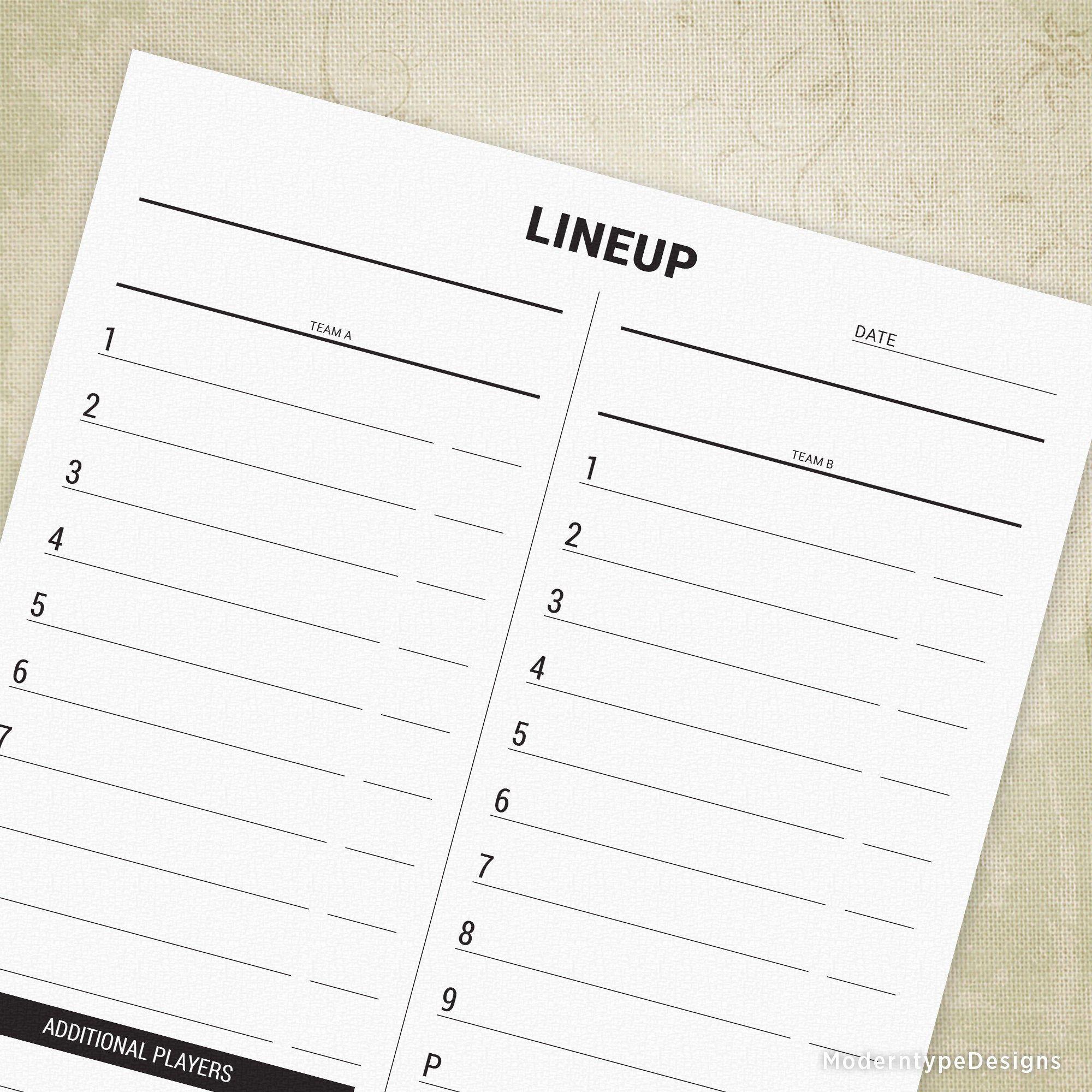 Baseball lineup list printable softball line up log