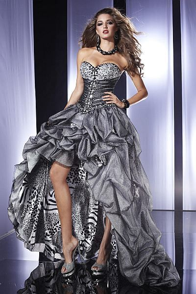 d47009cdc79e Panoply Steel Tiger Glitter Tulle High Low Prom Dress 14458 ...