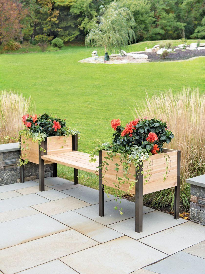 Elevated Cedar Planter Bench Natural Gardener S Supply