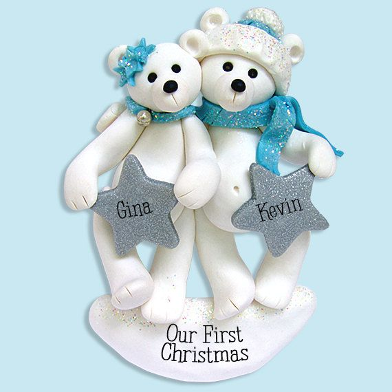 Polar Bear Couple/ Family Polymer Clay Personalized Christmas ...