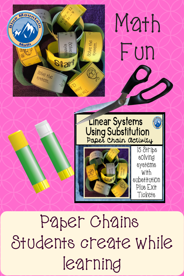Solving Systems With Substitution Paper Chain Activity Fun Math Common Core Math Activities Algebra Projects [ 1102 x 735 Pixel ]