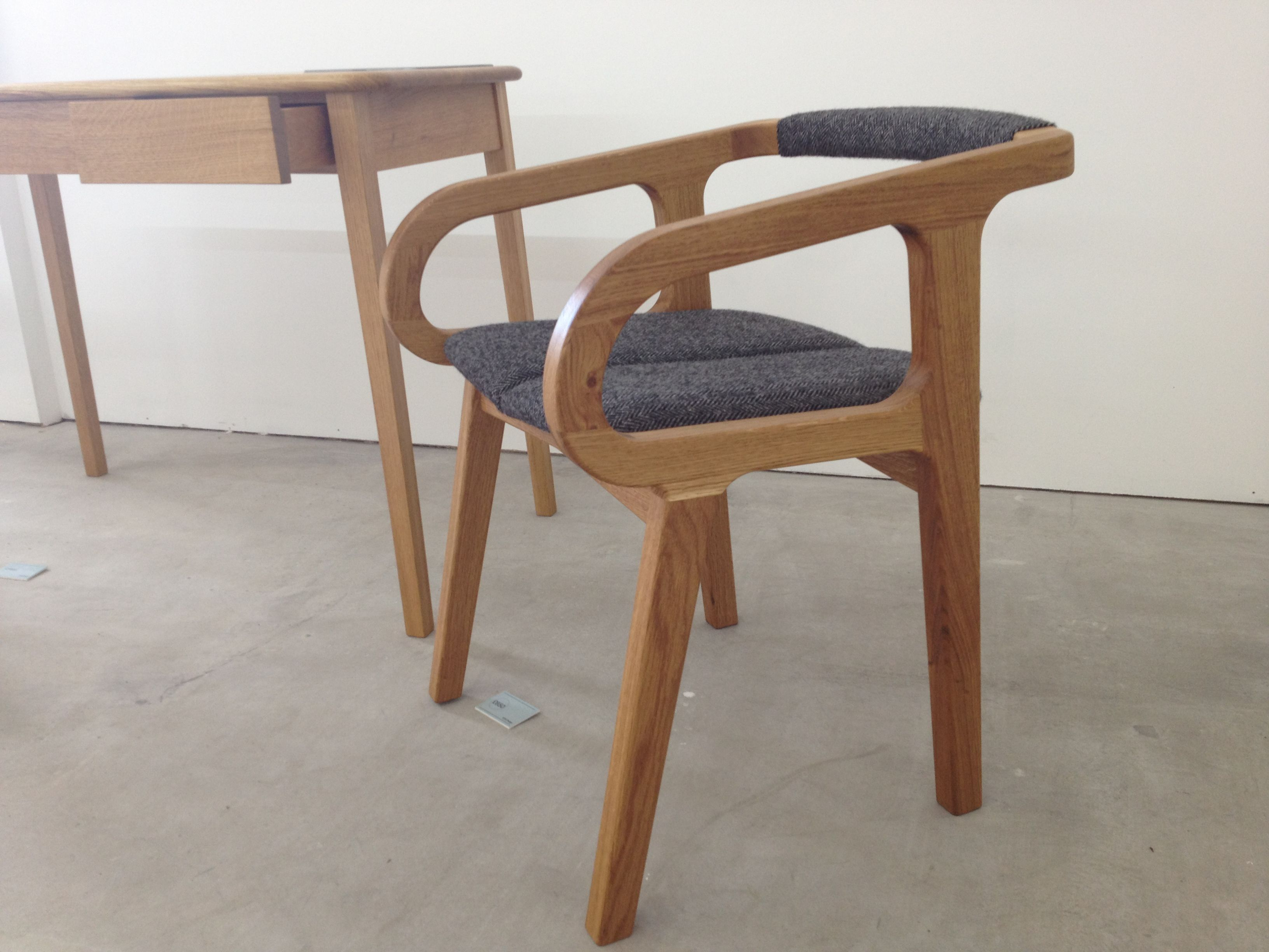 'Rchair' made in oak and upholstered in tweed by Michael