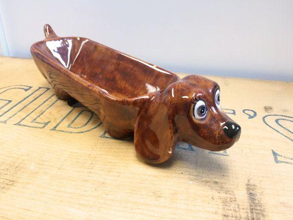 Ceramic Wiener Dog Dachshund Cracker Dish Trinket Holder Wiener