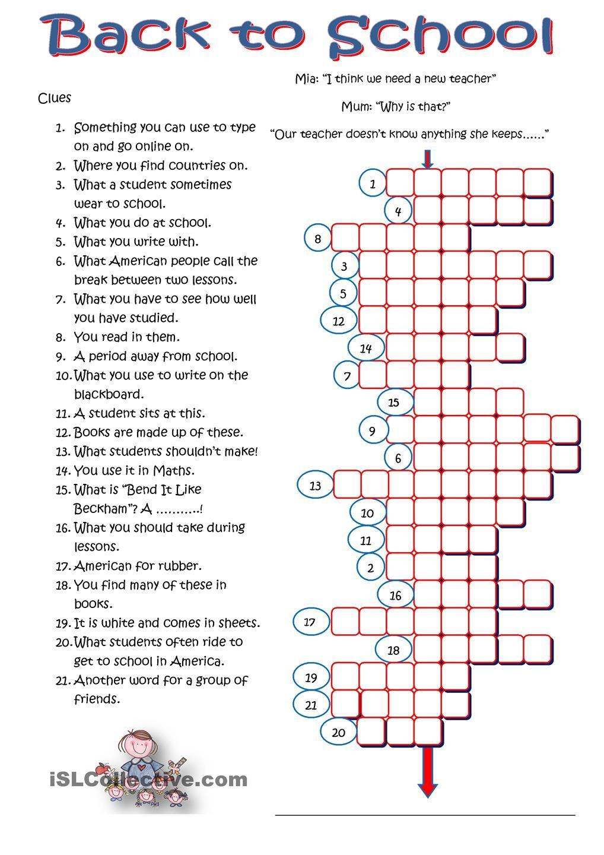 Back to School Crossword   English 6th grade   Pinterest ...