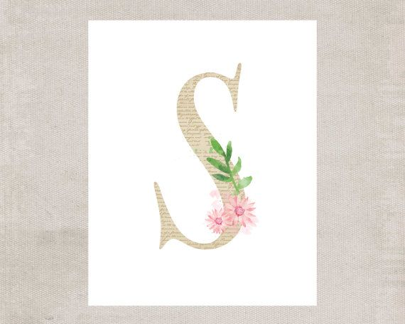 Floral Monogram Letter S Printable Wall Art by MadisonLeeDesigns