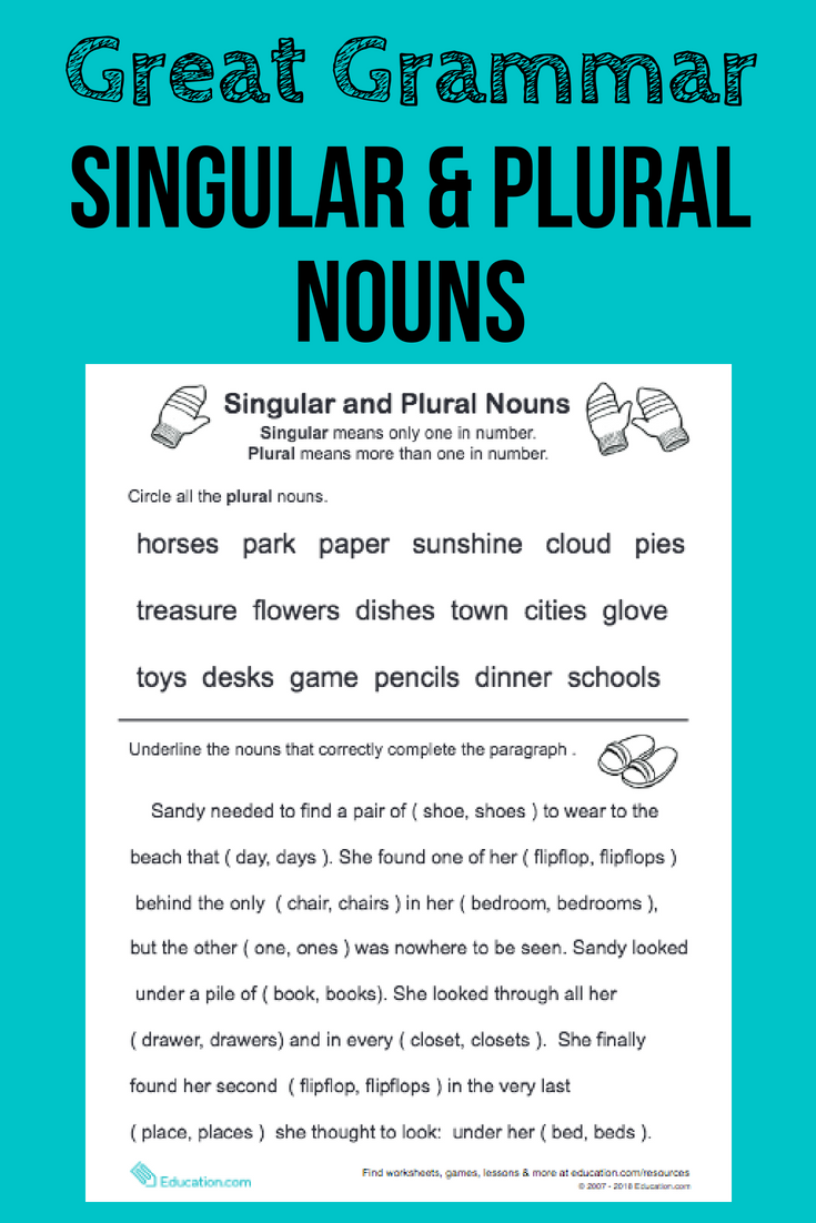 Great Grammar Singular and Plural Nouns Singular