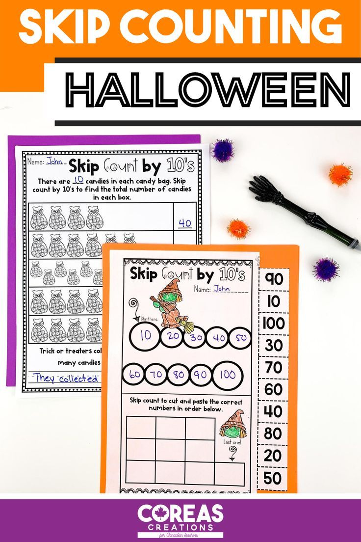 Halloween Math Skip Counting by 2, 5, 10 in 2020
