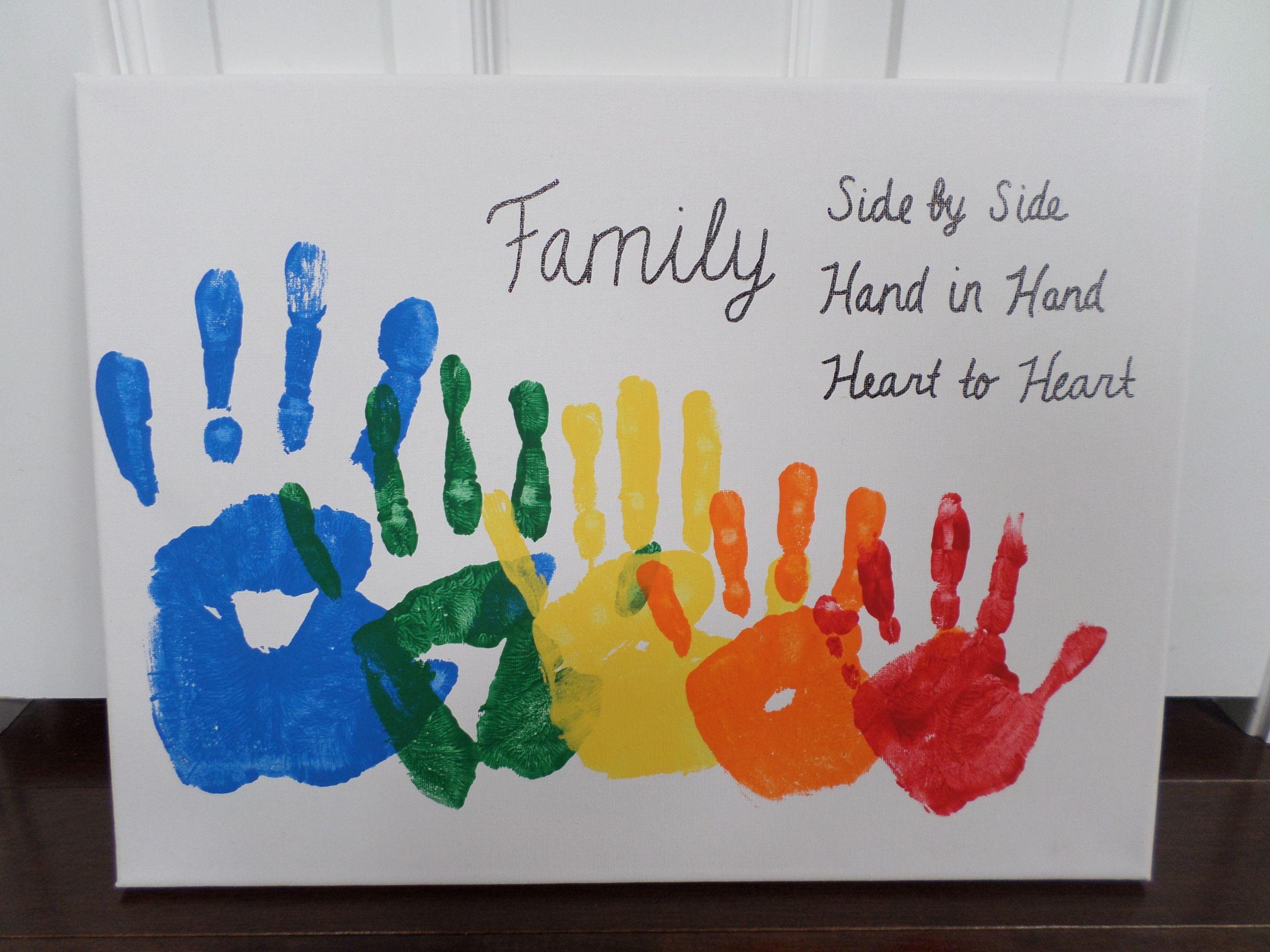 Rainbow Family Handprint Canvas Family Art Projects