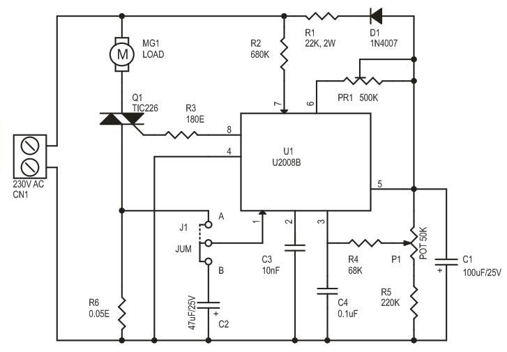 motor turn stall detector circuit diagram electronic projects Reversing Motor Starter Wiring Diagram Motor Start Circuit Diagram alternating motor control wiring diagram