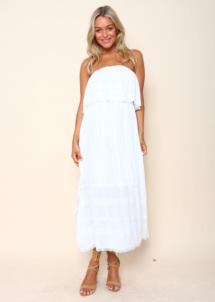 Serefina Dress With Overlay - White | Gingham & Heels