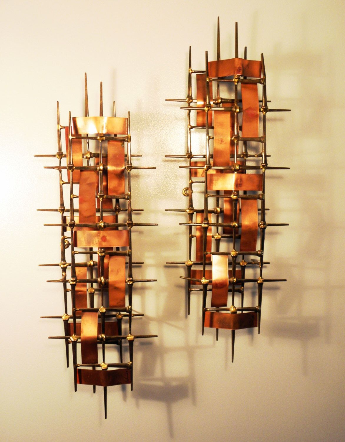 Mid Century Brutalist Metal Wall Sculptures by Ron Schmidt ...