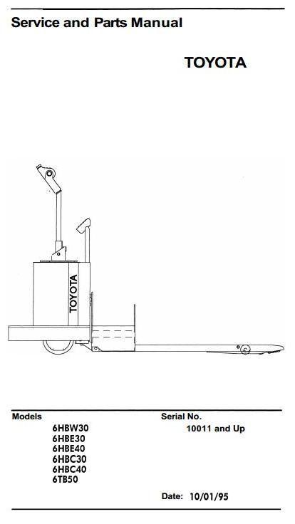 toyota truck 6hbc30 6hbc40 6hbe30 6hbe40 6hbw30 6tb50 sn 10011 rh pinterest com Toyota Pickup Wiring Diagrams toyota lift truck parts manual