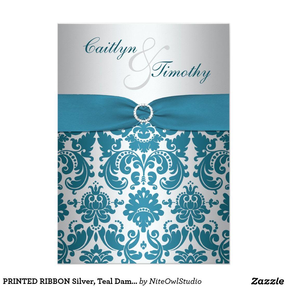 Printed Ribbon Silver Teal Damask Wedding Invite 5 X 7 Invitation
