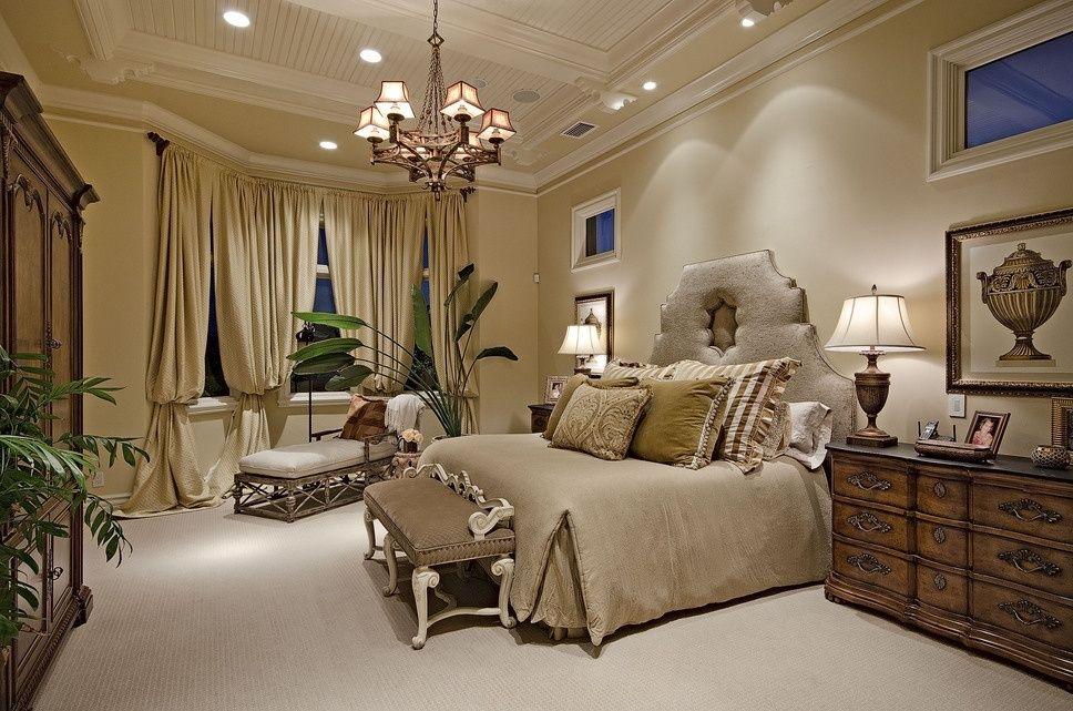 Traditional Guest Bedroom With High Ceiling, Chandelier, Lite Source  Damaris 6 Light Chandelier,
