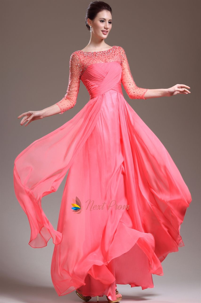 Pink Prom Dresses With Sleeves,Pink Prom Dresses With Diamonds ...