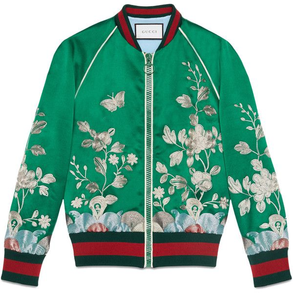 Gucci Silk Bomber Jacket found on Polyvore featuring outerwear, jackets, kirna zabete, tops, bomber jacket, gucci, green silk jacket, bomber style jacket and silk jacket