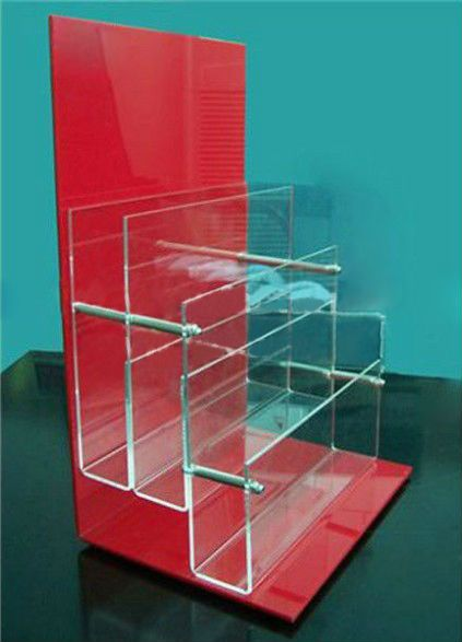 Counter Brochure Display Stand Tabletop Acrylic Brochure Holder Red Backdrop Magazine Holders Magazine File Holders