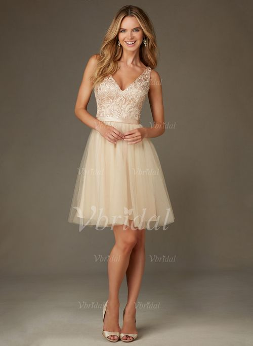 Champagne Knee Length Tulle Cocktail Dress