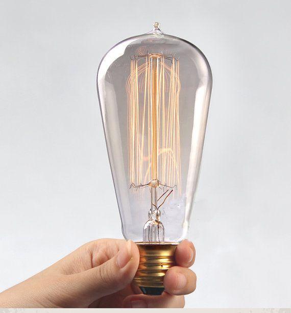 Edison E27 Squirrel Cage Filament Light Bulb With Droplet Etsy Edison Light Bulbs Filament Bulb Lighting Light Bulb