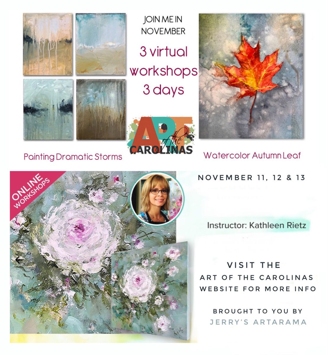 3 virtual art workshops coming in November #diy #artworkshops #watercolorarts #abstractpaintings #watercolor #floralpainting #onlineartcourses #acrylicpaintingtechniques