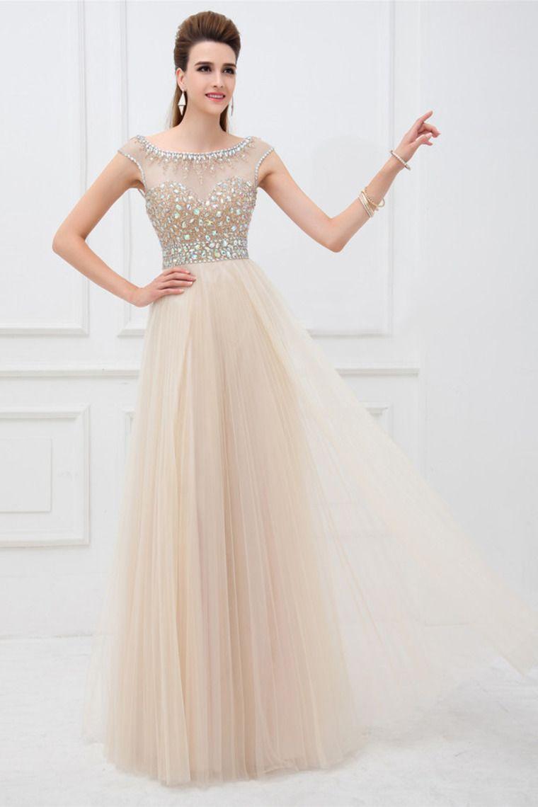 elegant scoop neckline cap sleeve prom dress beaded bodice with