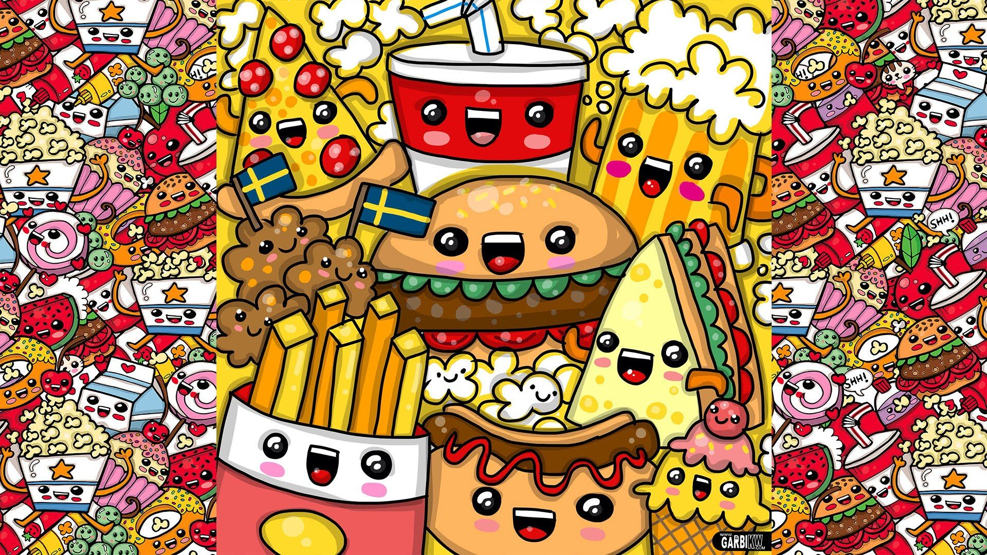 How To Draw Party Kawaii Fast Food by Garbi KW - YouTube ...