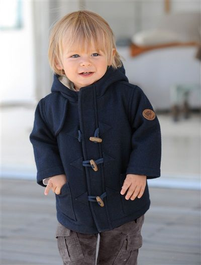 Baby's wool cloth duffle coat BLUE DARK SOLID | antique dolls ...
