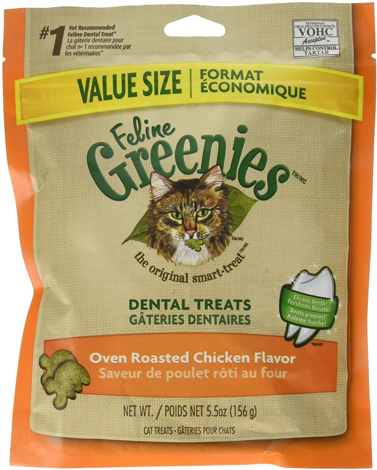 FELINE GREENIES Natural Dental Care Cat Treats 5.5 oz Only