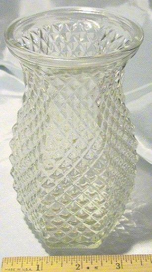 Vintage Hoosier 4071 Diamond Glass Pineapple Vase