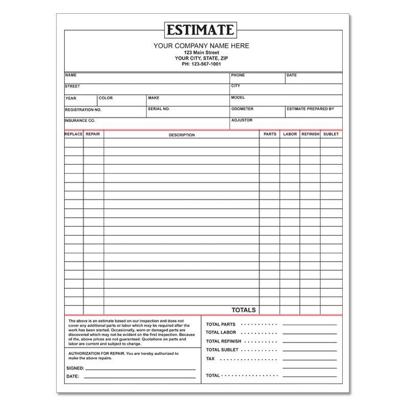 Auto Repair Estimate Auto Repair Estimates Repair Quote Estimate Template