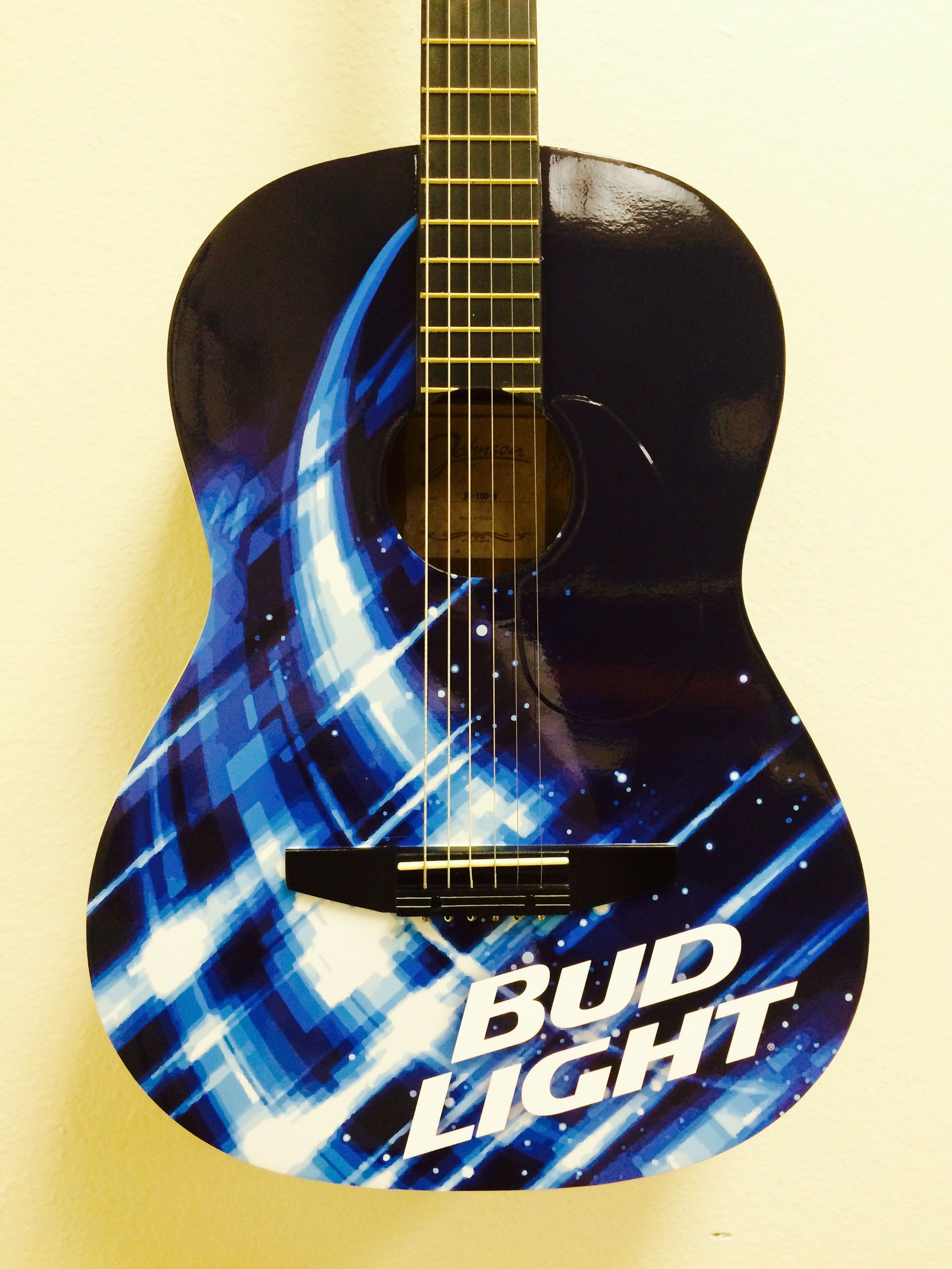 Custom Bud Light wrapped promotional guitars by Brand O