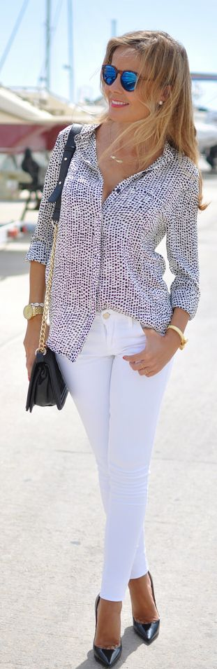Black And White Spotted Button Down by Te Cuento Mis Trucos.