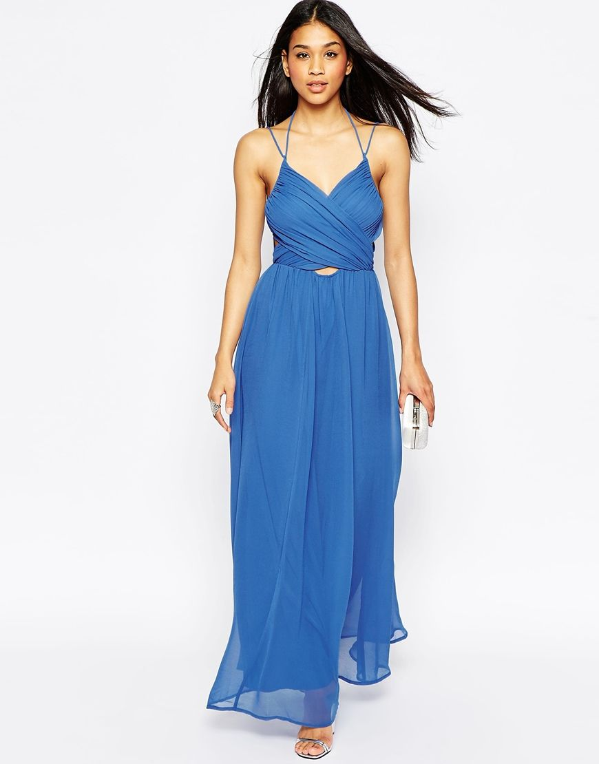 d40a7bf32972d3 $90 Blue Chiffon Cross Frong ASOS Halter Neck Maxi Dress with Cut Out