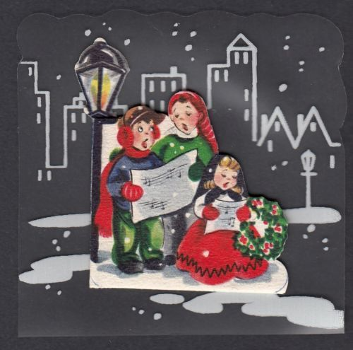 Vintage children singing by lamp post mini mylar · holiday greeting cardsvintage