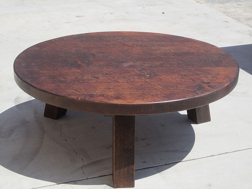 Small Round Rustic Side Tables: French Antique Rustic Oak Round Coffee Table Accent Table