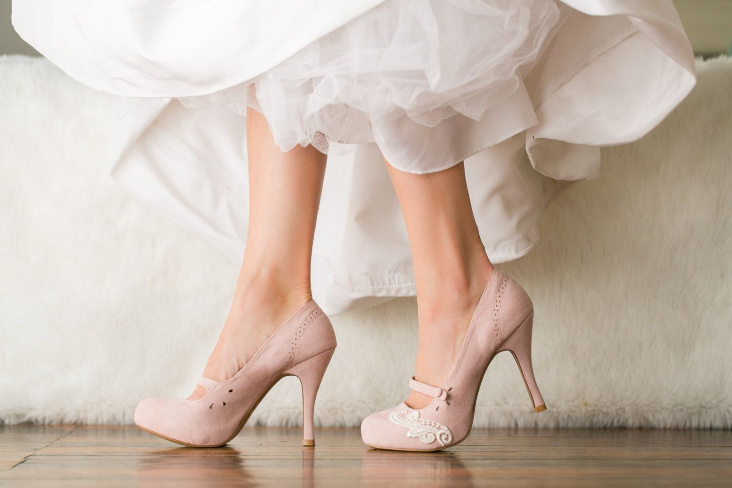 Blush Heels Mary Jane Pumps Wedding Bridal Shoes With Ivory Lace Us Size 9