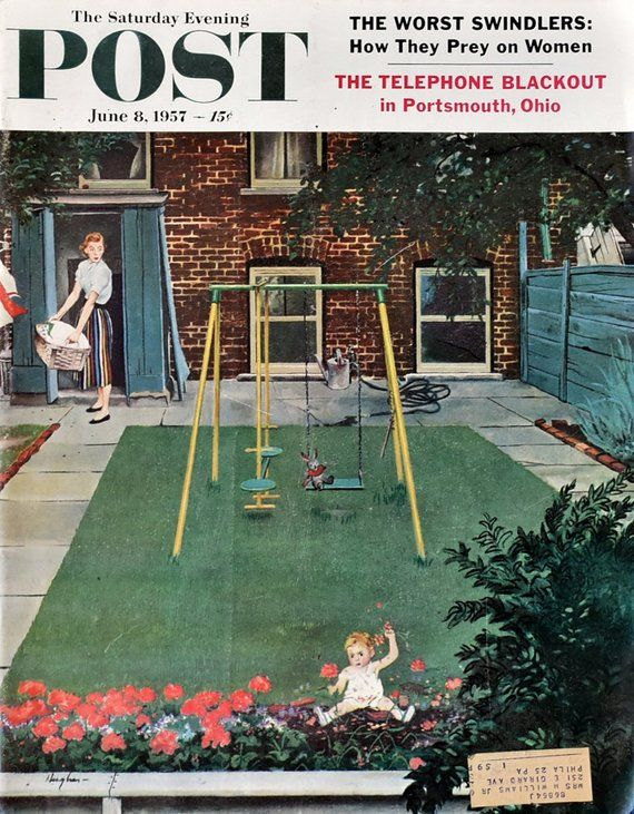 1957 Saturday Evening Post Cover Up Roses