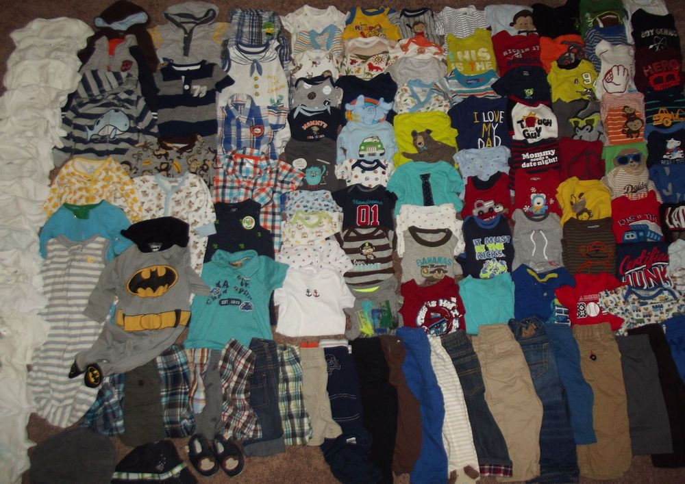 Huge 135pc Lot Baby Boy Clothes Outfits Sz Newborn 0 12 Months Carter S H M Baby Boy Outfits Baby Boy Boy Outfits