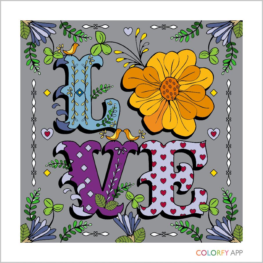 Colorfy coloring book for adults free online - Love Colorfy