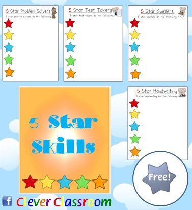 FREE 5 Star Skills Posters - PDF file  34 pages, all designed by Clever Classroom.    This file can also be found on our first ever super mega pack - Classroom Organization Super Mega Pack 1150+ pages 5 star rated week file  Social Skills MEGA Pack download. The '5 Star Rated' system