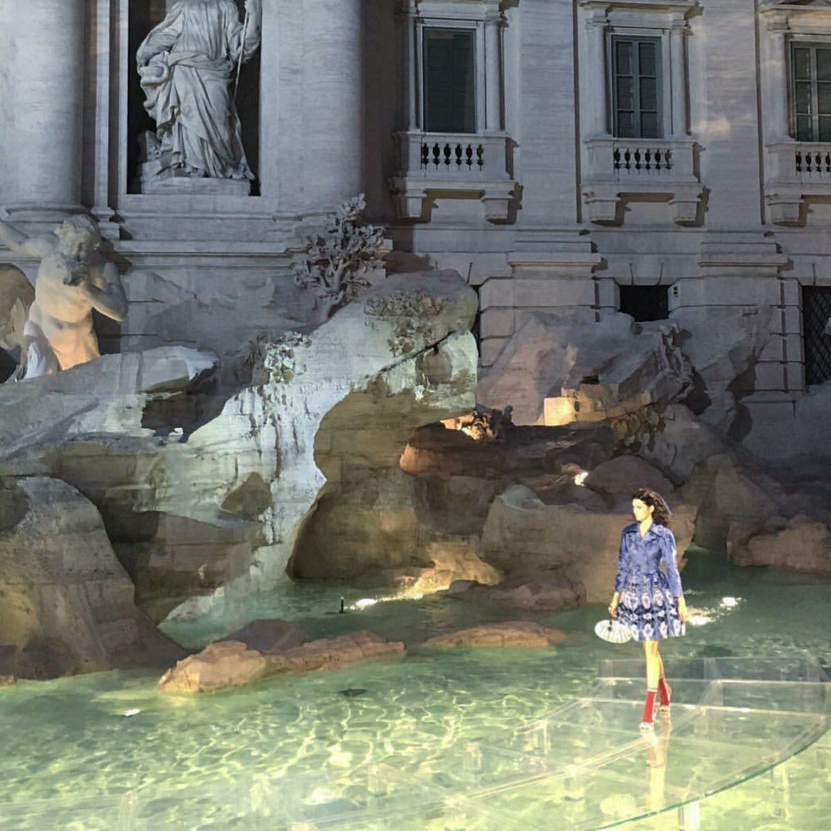 1d6a58ebdd85 Fendi show  walking on water over the Trevi Fountain in Rome ...