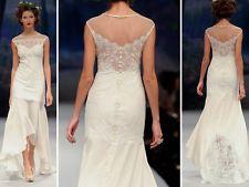 Claire Pettibone Sophie Ivory Lace Linen Hi-Lo Wedding Dress, size 8