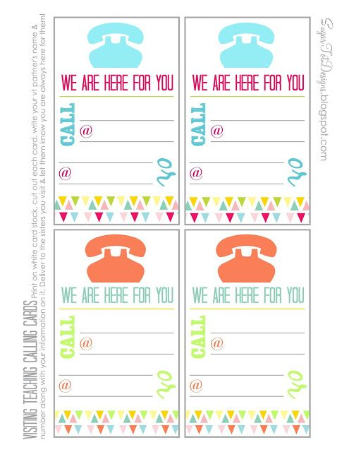 sugartotdesigns: August Visiting Teaching Message {free calling card}