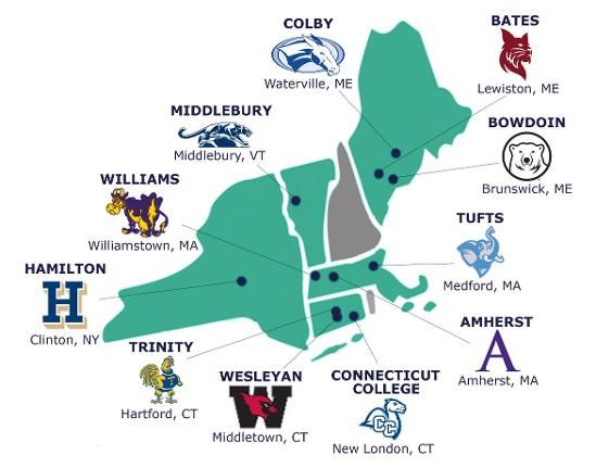 Colleges In New England >> Nescac Map Nescac Connecticut Colleges New London