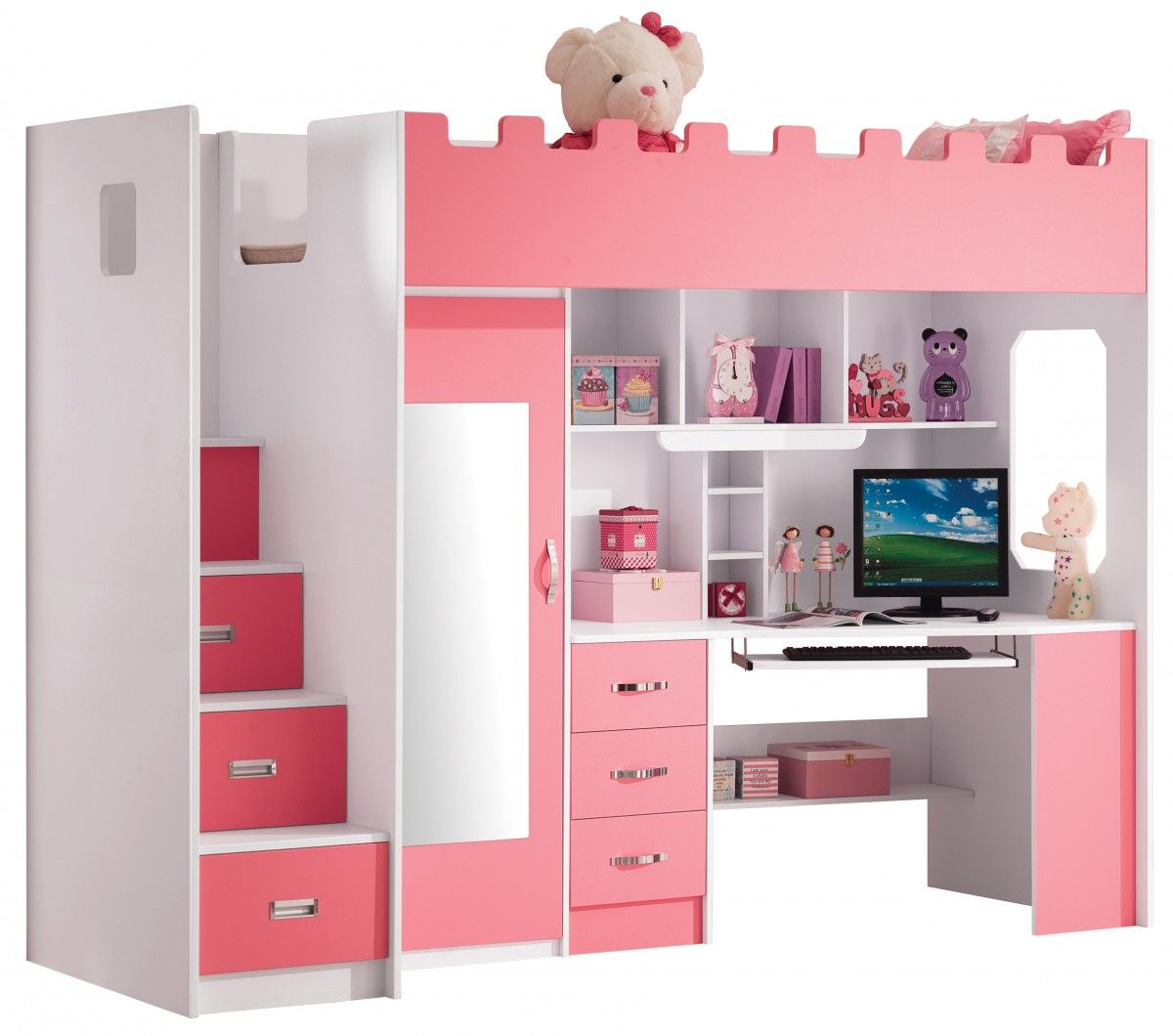 chambre enfant lit multifonction rose pas cher deco int pinterest. Black Bedroom Furniture Sets. Home Design Ideas