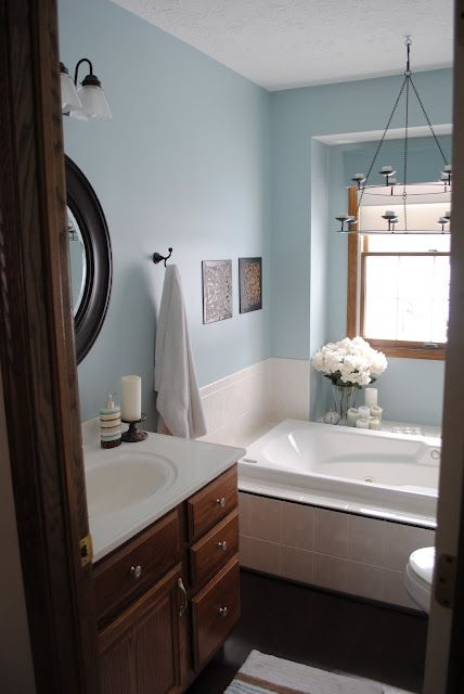 Wood Trim In Bathroom Inspiration Kinda Over Blue Though Painting Bathroom Bathroom Colors Bathroom Paint Colors