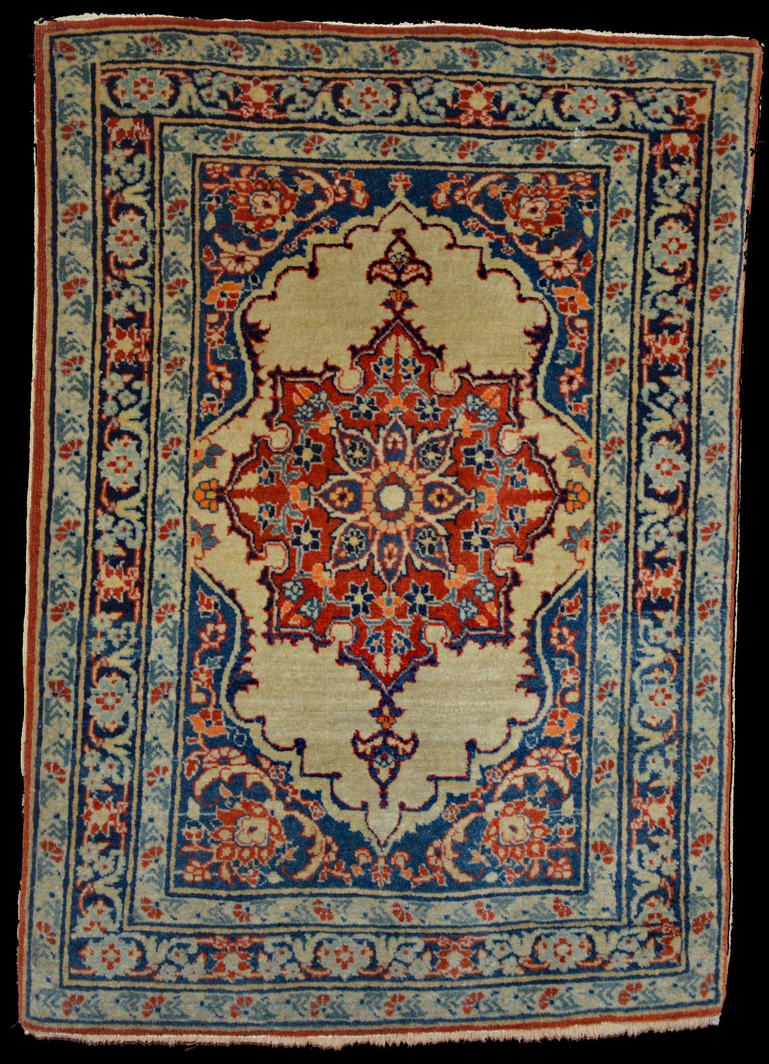 Antique Tabriz Pushti Or Mat Ivory