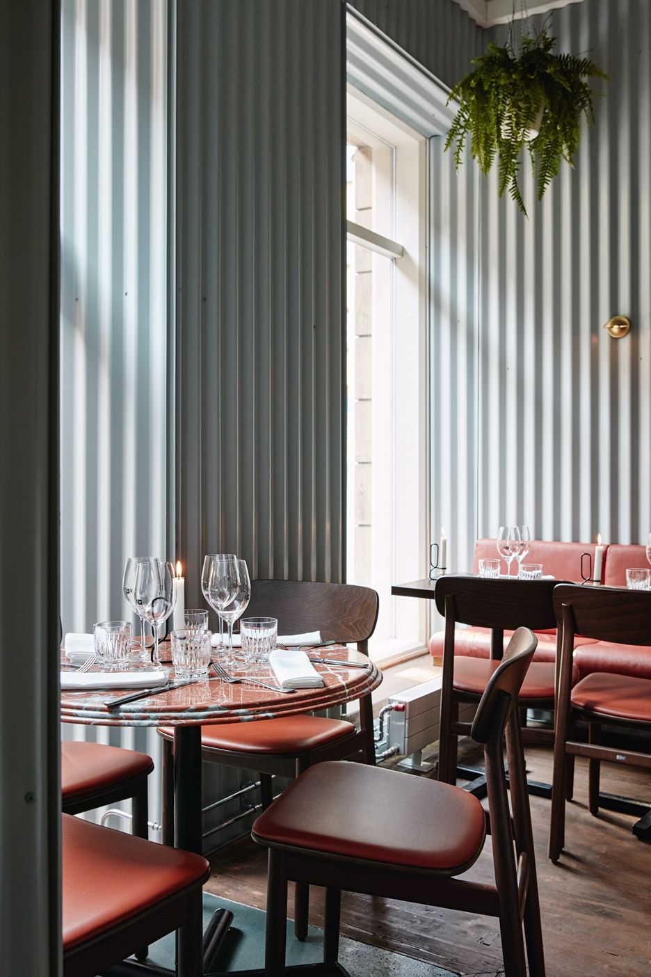 Ox Restaurant By Joanna Laajisto Corrugated Metal Wall Restaurant Interior Bar Design Restaurant