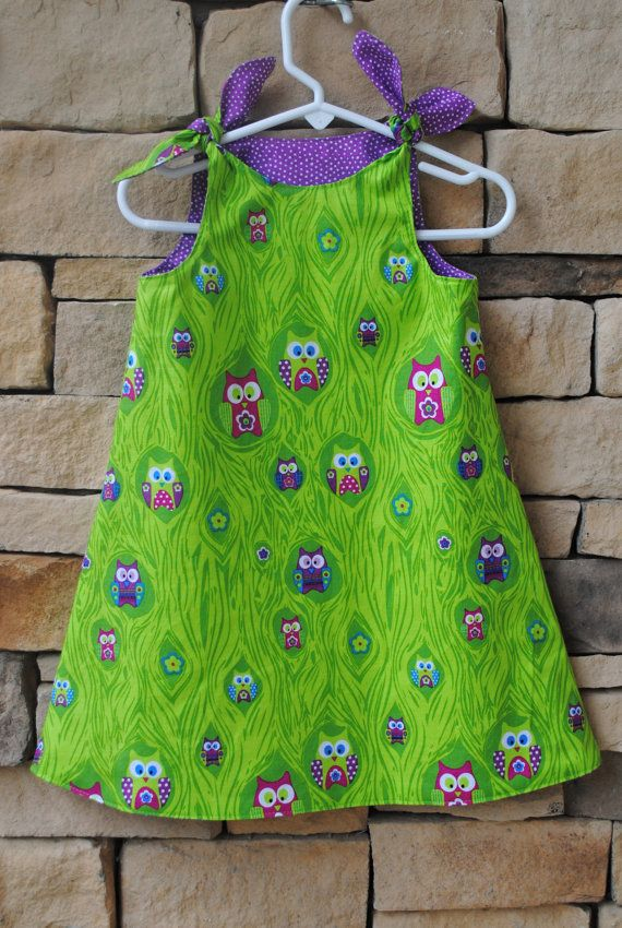 Owl Tie Knot Dress Girls Shoulder Tie Jumper Reversible