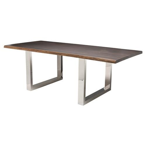 Zinnia Industrial Polished Silver Brown Oak Dining Table - 96W | Kathy Kuo Home